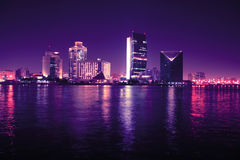 Dubai at night, united arab emirates stock photo
