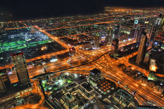 Dubai at the night in United Arab Emirates Stock Images