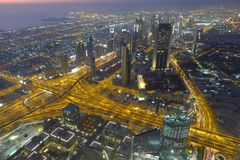 Dubai at night. Night view of Dubai from airplane. Dubai, United Arab Emirates stock photography