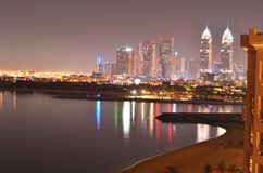 Dubai night view of the Palm Jumeirah, May 2016 stock photography