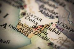 Dubai no mapa Foto de Stock Royalty Free