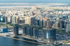 Dubai old and modern buildings, aerial view Stock Photos