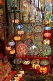 Dubai old souk. Colorful Arabic lantern and plates in Dubai souk Stock Photos
