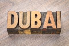Dubai ordabstrakt begrepp i wood typ Royaltyfri Bild