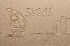 Dubai painted by in the sand Stock Images
