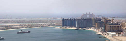 Dubai Palm Island. The under construction Palm Jumeirah, The picture shows the bottom left side of Palm and the Atlantis Hotel. The biggest and largest man made Royalty Free Stock Photos