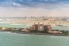 Dubai Palm Jumeirah. Aerial view with city skyline on background Royalty Free Stock Photos