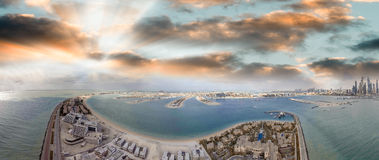 Dubai Palm Jumeirah, aerial view at sunset Royalty Free Stock Image