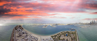 Dubai Palm Jumeirah, aerial view at sunset Stock Image