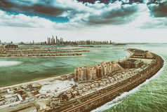Dubai Palm Jumeirah Island from the air Royalty Free Stock Photo