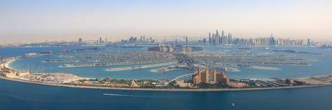 Dubai The Palm Jumeirah Island Atlantis Hotel panorama Marina aerial panoramic view photography. UAE royalty free stock photo