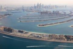 Dubai The Palm Jumeirah Island Marina aerial view photography Stock Image