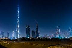 Dubai panorama and Burj Khalifa is currently the tallest buildin Royalty Free Stock Photo