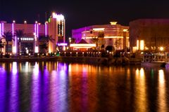 Dubai parks river land beautiful view and light reflections at night stock images