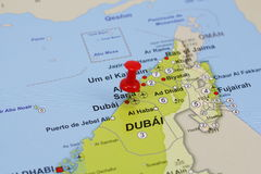 Dubai pin in a map Royalty Free Stock Photo