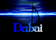 Dubai Poster Horizon Blue with Burj Al Arab Royalty Free Stock Photos