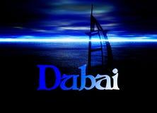 Dubai Poster Horizon Blue with Burj Al Arab Royalty Free Stock Photos
