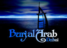 Dubai Poster Horizon Blue with Burj Al Arab Stock Photography