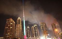 Dubai pozar hotelu The Adress. Fire luxury hotel The Address Dubai Stock Photography