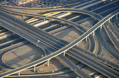 Dubai roads aerial view Royalty Free Stock Images