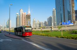 Dubai Bus - RTA. Dubai Rta Bus on sheikh said road Royalty Free Stock Images