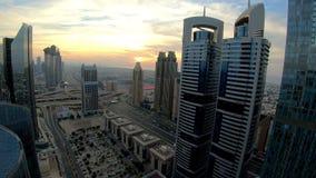 Dubai rush hour. Time lapse video of .Dubai skyline and rush hour traffic in downtown stock video