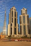 Dubai sand skyline. Dubai city skyline with desert sand in foreground. United Arab Emirates Stock Photo