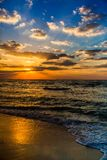 Dubai sea and beach, beautiful sunset at the beach Stock Image