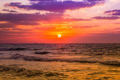 Dubai sea and beach, beautiful sunset at the beach Stock Photography