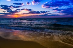 Dubai sea and beach, beautiful sunset at the beach Royalty Free Stock Photography