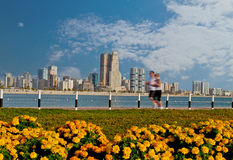 Dubai sea front. With flowers and people jugging Royalty Free Stock Image