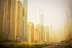 Dubai Sheikh Zayed Road solnedgång 15 09 Tomasz Ganclerz 2017 Royaltyfri Fotografi