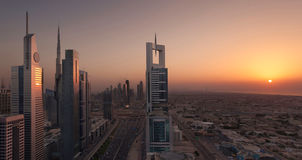 Dubai Shiekh Zayed Road Sunset Arkivfoton