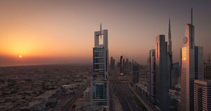 Dubai Shiekh Zayed Road Sunset stock photos