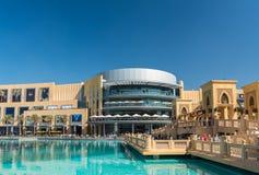 Dubai shopping mall exterior. UAE, DUBAI - JANUARY 02: Dubai shopping mall exterior on January 02, 2015 in Dubai, United Arab Emirates Stock Photos