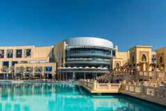 Dubai shopping mall exterior. UAE, DUBAI - JANUARY 02: Dubai shopping mall exterior on January 02, 2015 in Dubai, United Arab Emirates Stock Photo