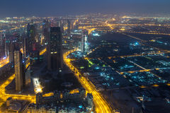 Dubai sikt från Burj Khalifa Royaltyfri Foto