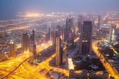 Dubai sikt från Burj Khalifa Arkivbilder