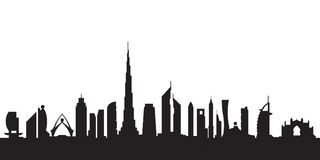 Dubai silhouette by day. Vector illustration Stock Photography