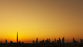 Dubai silhouette skyline Stock Images