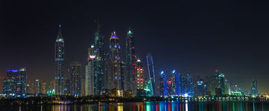 Dubai sity skyline at night and skyscrapers view. Stock Images
