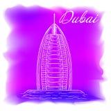 Dubai sketch. Vector illustration of dubai, travel to dubai Stock Photography