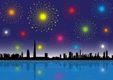 Dubai skyline. Colorful fireworks in dubai at night Royalty Free Stock Image