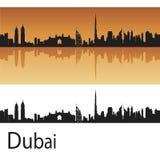 Dubai skyline. In orange background in editable vector file Royalty Free Stock Images