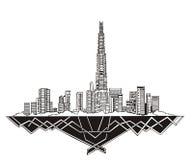 Dubai Skyline. (UAE). Black and white vector illustration EPS 8 Royalty Free Stock Photos