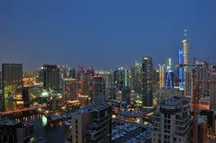 Dubai Skyline. A landscape view of residential towers against Dubai Marina stock image