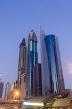 Dubai Skyline. Aerial view of Sheikh Zayed Road in downtown Dubai at dusk, United Arab Emirates Royalty Free Stock Images