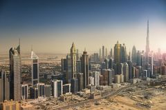 Dubai skyline from the air. Dubai downtown and modern skyscrapers. UAE Royalty Free Stock Image