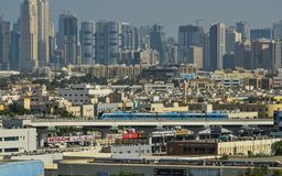 Dubai skyline from the air royalty free stock images