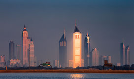 Dubai skyline as seen from Business Bay Royalty Free Stock Image